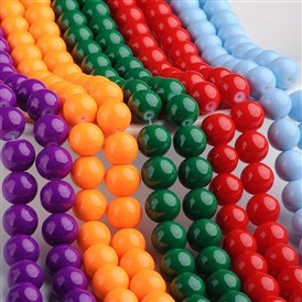 Painted Glass Bead Strands, Baking Paint, Round, 31.4
