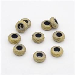 Antique Bronze Plated Frosted Faceted Rondelle Electroplated Non-magnetic Synthetic Hematite Beads, Large Hole Beads, Antique Bronze Plated, 13x6.5mm, Hole: 6mm