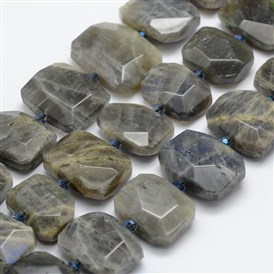 Natural Labradorite Beads Strands, Faceted, Rectangle