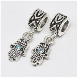 Aquamarine Alloy European Dangle Beads, with Rhinestones, Large Hole Pendants, Long-Lasting Plated, Hamsa Hand/Hand of Fatima/Hand of Miriam with Eye, Antique Silver, Aquamarine, 25mm, Hole: 4.5mm; Hamsa Hand/Hand of Fatima/Hand of Miriam with Eye: 15x8x3mm