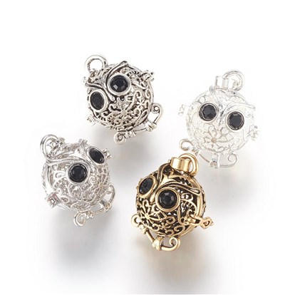 Environmental Brass Cage Pendants, For Chime Ball Pendant Necklaces Making, with Jet Grade A Rhinestone, Cadmium Free & Nickel Free & Lead Free, Hollow Owl