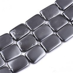 Gray Shell Pearl Beads Strands, Dyed, Rectangle, Gray, 20~21x15x2.5~4mm, Hole: 1mm; about 20pcs/strand, 16.1""