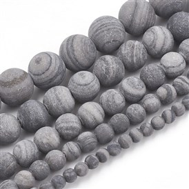 Natural Black Wood Lace Stone Beads Strands, Frosted, Round