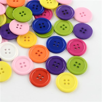 4-Hole Plastic Buttons, Flat Round, 22x2mm, Hole: 2mm