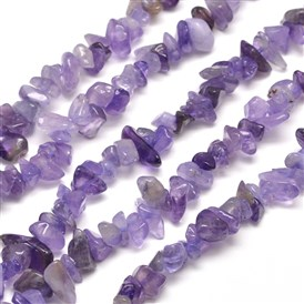 Natural Amethyst Chip Bead Strands, Dyed, 5~8x5~8mm, Hole: 1mm; about 31.5""