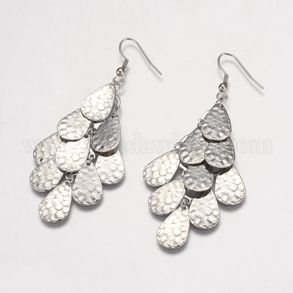 Wholesale 304 Stainless Steel Cluster Earrings Drop In