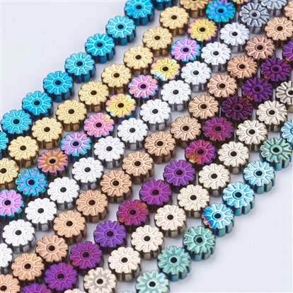 Electroplate Non-magnetic Synthetic Hematite Beads Strands, Flat Round with Flower-1