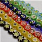 Handmade Millefiori Glass Flat Round Bead Strands, Single Flower Design, 8x4mm, Hole: 1mm, about 53pcs/strand, 14.7""