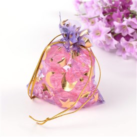 Organza Bags, with Golden Hot Stamping Moon and Star