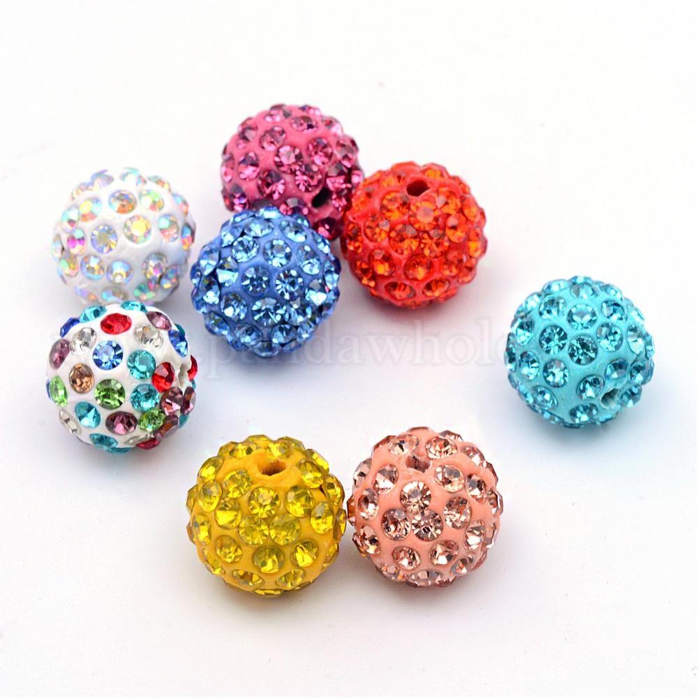 100 Pcs Polymer Clay Rhinestone Pave Disco Ball Beads Light Siam 10mm Hole 1.5mm