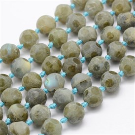 Natural Labradorite Beads Strands, Frosted, Football/Soccer