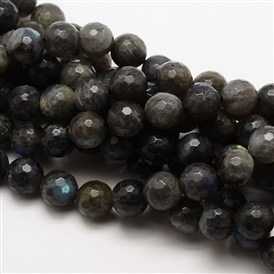 Grade AA Natural Gemstone Labradorite Faceted Round Beads Strands