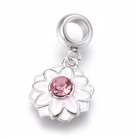 304 Stainless Steel European Dangle Beads, Large Hole Pendants, with Enamel and Rhinestone, Flower