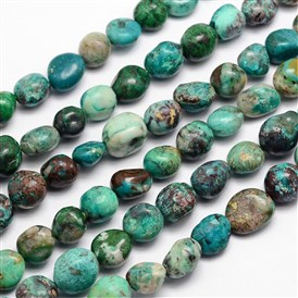 Natural Chrysocolla Bead Strands, Nuggets, 11~14x10~11mm, Hole: 1mm; about 15.74""