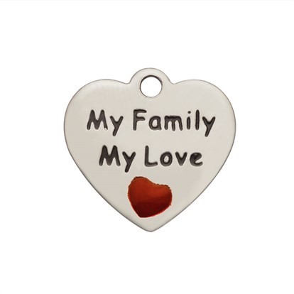 304 Stainless Steel Enamel Pendants, Heart with Word My Family My Love-1