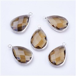 Tan Silver Tone Brass Glass Drop Pendants, Faceted, Tan, 18x10x5mm, Hole: 2mm