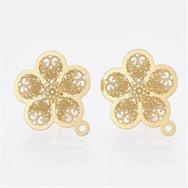 304 Stainless Steel Stud Earring Findings, with Loop, Flower