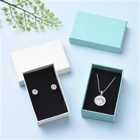 Cardboard Gift Box Jewelry  Boxes, for Necklace, Earrings, with Black Sponge Inside, Rectangle
