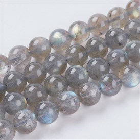Natural Labradorite Beads Strands, Grade AA, Round