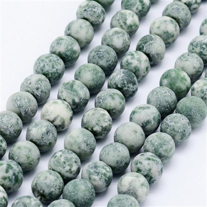 Natural Green Spot Stone Beads Strands, Frosted, Round