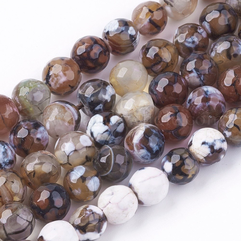 1mm 47pcs//strand 1 Strand Natural Agate Faceted Round Beads Strands Hole