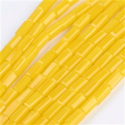 "Gold Opaque Glass Beads Strands, Faceted, Cuboid, Gold, 4~5x2~2.5x2~2.5mm, Hole: 0.5mm; about 100pcs/strand, 17.5~19""(44.5~48.5cm)"