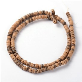 Natural Coconut Rondelle Bead Strands, 4x1.5~4.5mm, Hole: 1mm; about 144pcs/strand, 15""