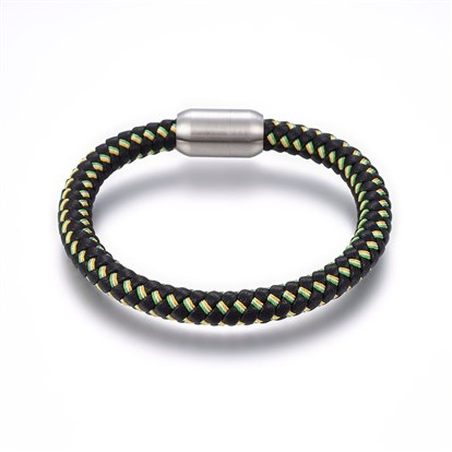Leather Cord Bracelets, with 304 Stainless Steel Magnetic Clasp-1