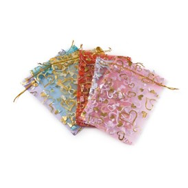 Heart Printed Organza Bags, Wedding Favour Bags, Gift Bags, Rectangle