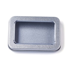 Tinplate Box, Storage Containers for Jewelry Beads, Candies, with Lip and and Clear Window, Rectangle