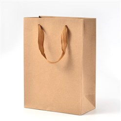 BurlyWood Rectangle Kraft Paper Pouches Gift Shopping Bags, with Nylon Thread, BurlyWood, 16x12x5.7cm