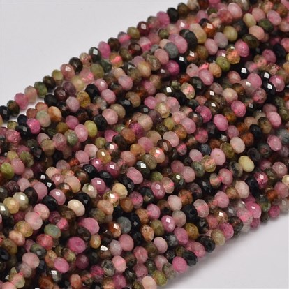 Faceted Rondelle Natural Tourmaline Bead Strands