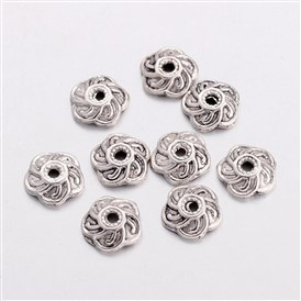 Tibetan Style Caps, Lead Free & Cadmium Free, Flower, 9x9x2.5mm, Hole: 2mm