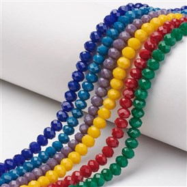 Glass Beads Strands, Imitation Jade, Faceted, Rondelle