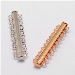 Mixed Color Alloy Magnetic Slide Lock Clasps, 10-Strand, 20-Hole, Tube, Mixed Color, 56x13.5x7mm, Hole: 2mm