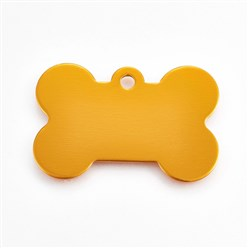 Gold Pet Aluminium Pendants, Blank Stamping Tag, Bone, Gold, 25x38x1mm, Hole: 2.5mm