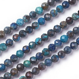 Natural Turquoise Bead Strands, Faceted, Round