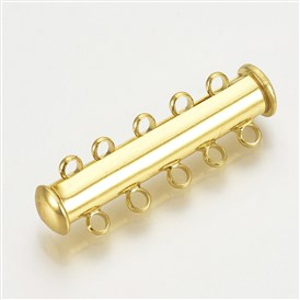 Brass Slide Lock Clasps, 5-Strand, 10-Hole, Magnetic, Tube