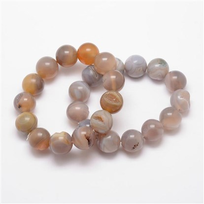 Natural Agate Beaded Stretch Bracelets, Round, Dyed & Heated-1