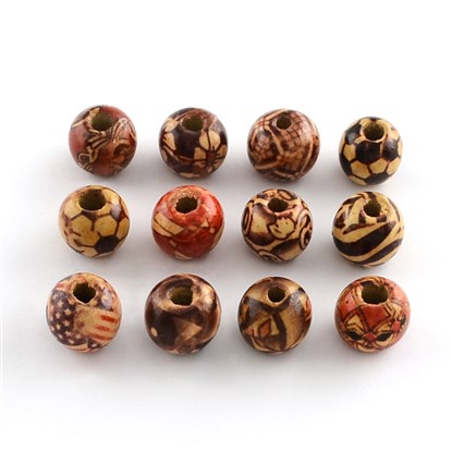 Round Printed Wood Beads, 13x12mm, Hole: 3~4mm; about 1560pcs/1000g-1