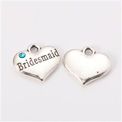 "SILVER /""HEART WITH BRIDESMAID/"" CHARM WITH SPLIT RING"