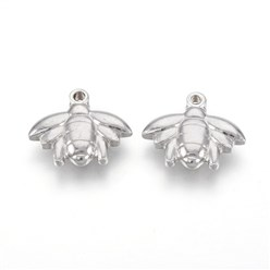 Stainless Steel Color 304 Stainless Steel Pendants, Bee, Stainless Steel Color, 14x16.5x4mm, Hole: 1.4mm