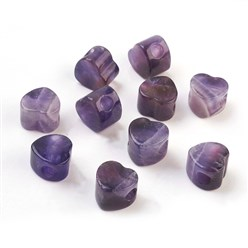 Amethyst Natural Amethyst European Beads, Large Hole Beads, Heart, 13~14x13~14x9~10mm, Hole: 5mm