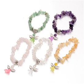 Natural Gemstone Kids Bracelets, with Acrylic Bead and Antique Silver Alloy Findings, Lovely Wedding Dress Angel Dangle, 39mm