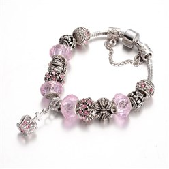 Pink Alloy Rhinestone Bead European Bracelets, with Glass Beads and Brass Chain, Pink, 190mm