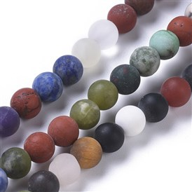 Natural Mixed Gemstone Beads Strands, Frosted, Round