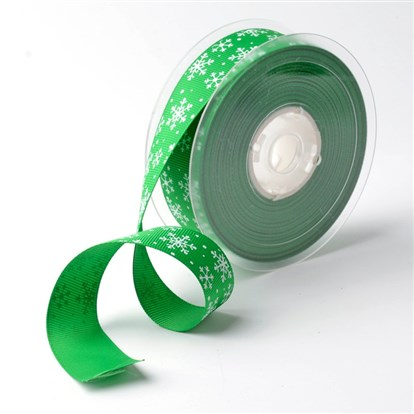 "Snowflake Polyester Grosgrain Ribbon for Christmas, 1""(25mm); about 100yards/roll(91.44m/roll)-1"