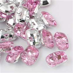 PearlPink Taiwan Acrylic Rhinestone Buttons, Faceted, 1-Hole, Rectangle, PearlPink, 30x21x10.5mm, Hole: 2mm