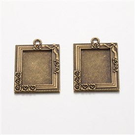 Rectangle Tibetan Style Alloy Pendant Cabochon Settings, Lead Free & Nickel Free & Cadmium Free, Tray: 25x18mm; 39x28x2mm, Hole: 3mm; about 105pcs/1000g