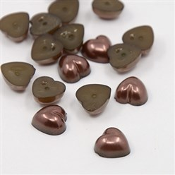 CoconutBrown Acrylic Imitation Pearl Cabochons, Dyed, Heart, CoconutBrown, 10.5x10.5x5mm; about 1500pcs/bag